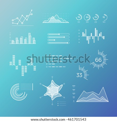 Thin line vector graphs, charts and diagrams with flat elements. Outline diagram, graphs and charts in linear style, infographic for business presentation illustration - stock vector