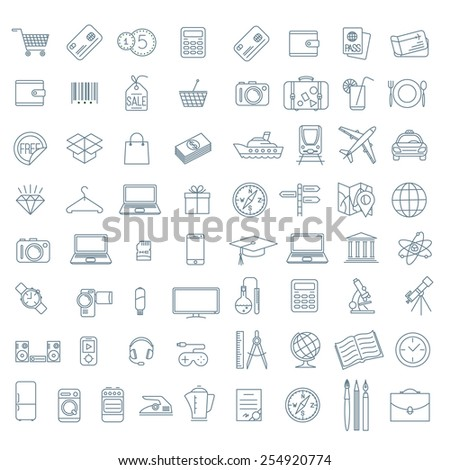 Thin line vector  icon collection.  - stock vector