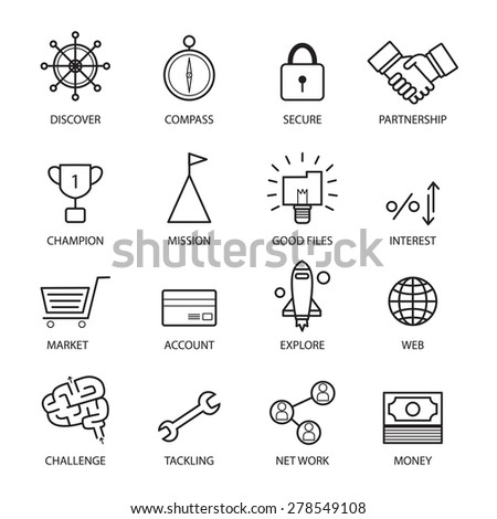 Thin line vector icons of investment, Elements for Financial,business,stockmarket, strategy,planning,management,target,success,online, modern flat icon collection illustration concept, - stock vector
