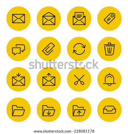 Thin line vector icons set for web site and mobile apps design black and yellow colors flat style. Objects and symbols: mail, envelope, arrow, folder, message, tag, clip, speech bubble - stock vector