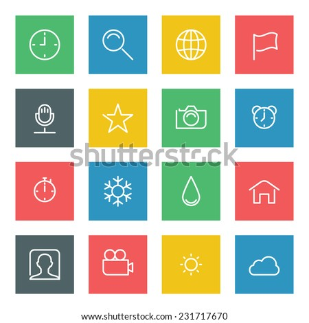 Thin line vector icons set for web site and mobile apps design colors flat style. Objects and symbols: globe, network, photo camera, flag, search, clock, rating, weather, user profile  - stock vector
