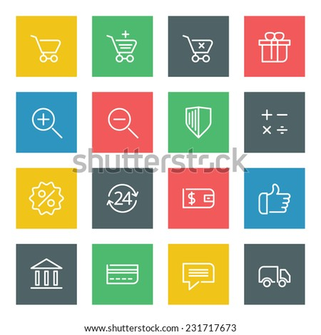 Thin line vector icons set for web site and mobile apps design colors flat style. Objects and symbols: shopping, search, shield, security, calculator, sale, thumbs up, card, delivery