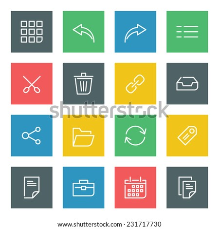 Thin line vector icons set for web site and mobile apps design colors flat style. Objects and symbols: arrow, link, share, folder, portfolio, case, tag, page, calendar, document  - stock vector