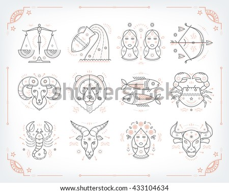 Thin line vector zodiacal symbols. Astrology, horoscope sign, graphic design elements, printing template. Vintage outline stroke style. Isolated on white. - stock vector