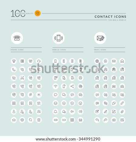 Thin line web icons collection for contact us, communication, support, office. Icons for web and app design. - stock vector