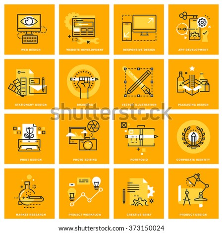Thin line web icons of web design and development, responsive design, stationary and print design, branding, packaging design, photo editing. Vector illustration concepts for graphic and web design. - stock vector