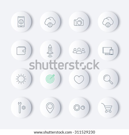 Thin line web round modern icons, vector illustration, eps10, easy to edit - stock vector