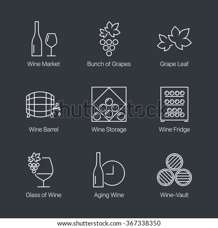 Thin line wine icons set on dark background. Web graphics simple mono outline symbol collection. Premium quality best modern linear stroke vector logo concept pictogram pack. - stock vector
