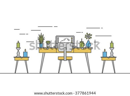 Thin Line Work Space Vector Design