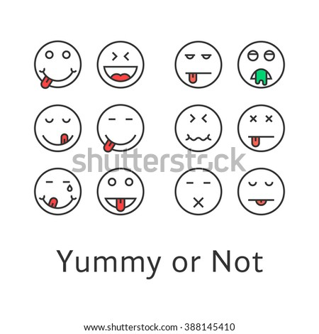 thin line yummy emoji icons. concept of taste, sense, satisfied, mouth, avatar, vomiting, illness, poisoning, intoxication. flat style trend logotype design vector illustration on white background - stock vector