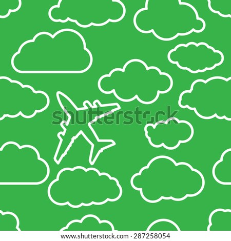 thin linear airplane with clouds on a green air Seamless background - stock vector