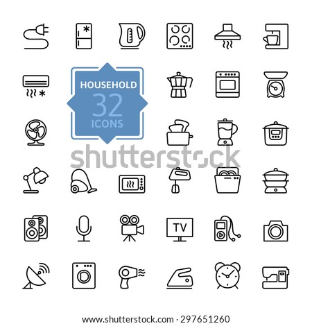 Thin lines icon collection - household appliances - stock vector