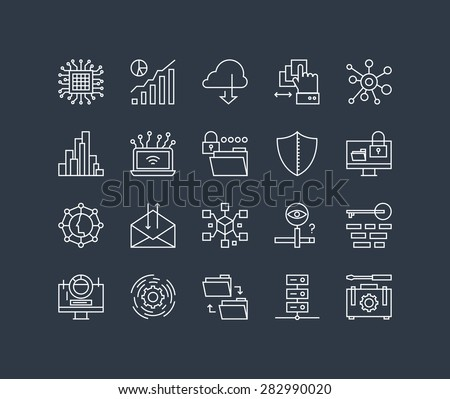 Thin lines icons set of big data center graph, cloud computing system, internet protection password access, technical instrument. Modern infographic outline vector design simple logo pictogram concept - stock vector