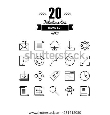 Thin lines icons set of cloud networking, office workflow object, global business communication, mobile user interface element. Modern infographic outline vector design, simple logo pictogram concept. - stock vector