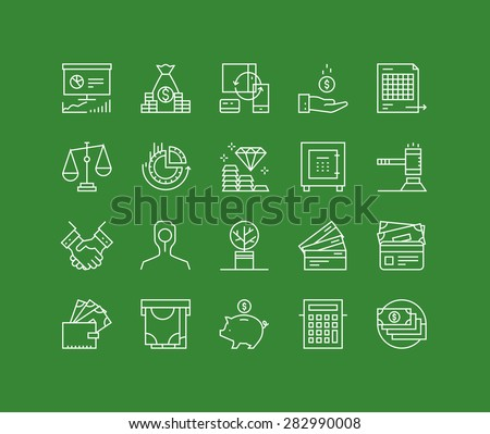 Thin lines icons set of finance strategy, banking account, return on investing, money circulation process, securities trading. Modern infographic outline vector design, simple logo pictogram concept. - stock vector