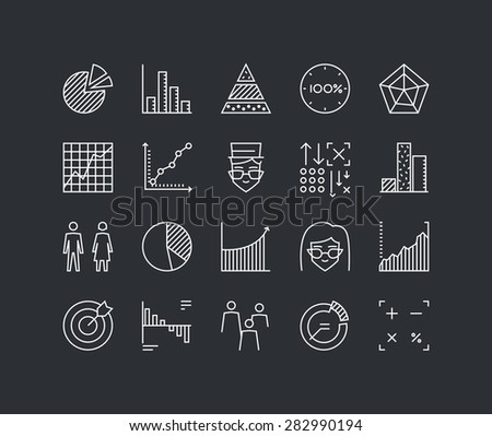 Thin lines icons set of infographics elements, infochart statistics, big data analytics, company chart and graph, people stats. Modern infographic outline vector design, simple logo pictogram concept. - stock vector
