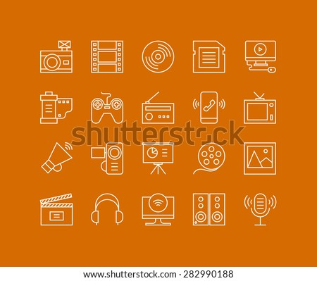 Thin lines icons set of multimedia and presentation objects, audio records, video clips, gaming and various media elements. Modern infographic outline vector design, simple logo pictogram concept. - stock vector