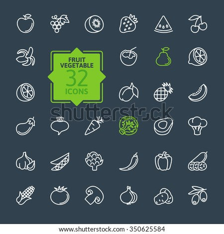 Thin lines pictogram collection- Fruit and Vegetables - stock vector