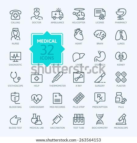 Thin lines web icon set - Medicine and Health symbols