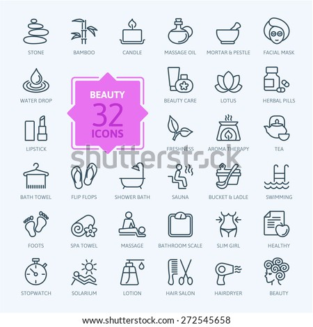 Thin lines web icon set - Spa & Beauty  - stock vector
