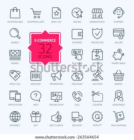 Thin lines web icons set - E-commerce, shopping - stock vector