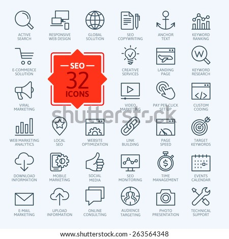 Thin lines web icons set - Search Engine Optimization  - stock vector