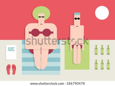 Thin man and a fat woman on the beach, flat style, vector cartoon illustration - stock vector