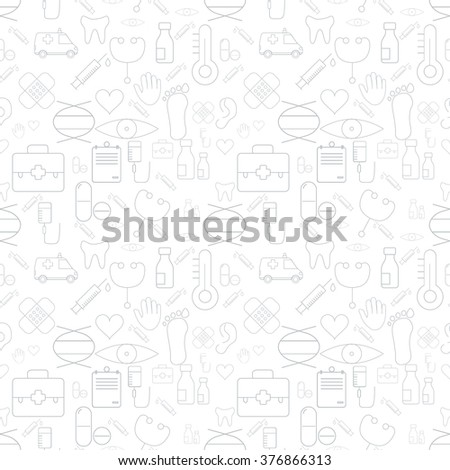 Thin Medical Line Health Care White Seamless Pattern. Vector Medicine Design and Seamless Background in Trendy Modern Line Style. Thin Outline Art. Gray color