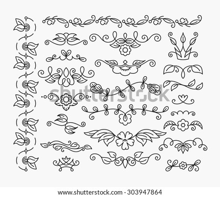 Thin mono line floral decorative design elements, set of isolated ornamental headers, dividers with leaves and flowers.  - stock vector