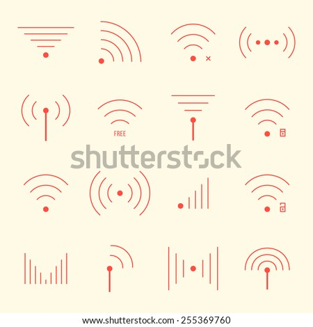 thin red wifi icons on yellow background. concept of free internet point, free access, wifi zone, wi-fi connection via radio waves, wifi area. flat style modern thin line design vector illustration - stock vector