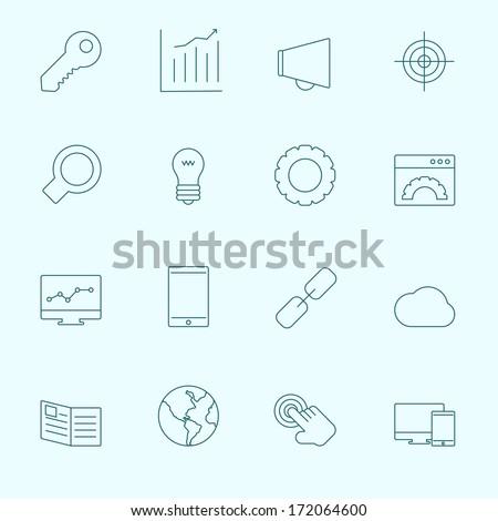 Thin SEO Icons - stock vector