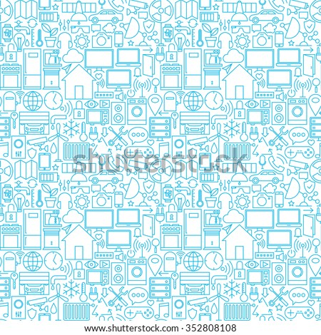Thin Smart House Line Seamless White Pattern. Vector Web Design Seamless Background in Trendy Modern Line Style. Technology Home Outline Art.