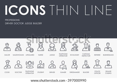 Thin Stroke Line Icons of Professions on White Background - stock vector