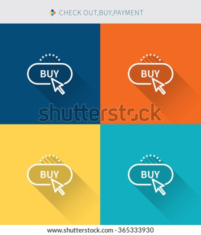 Thin thin line icons set of check out & buy and payment, modern simple style