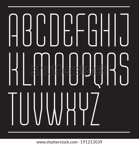 Thin vector font. Ultra condensed decorative typeface. Modern slim type