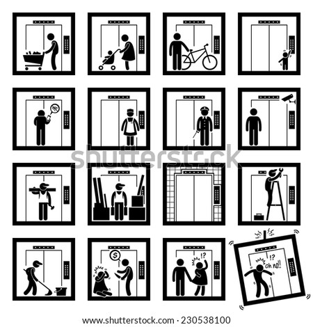 Things that People do inside Elevator Lift Stick Figure Pictogram Icons (second version) - stock vector