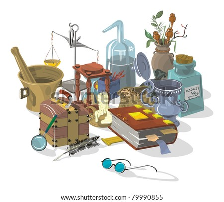 Things the old Alchemist, vector - stock vector