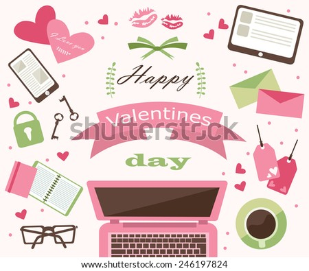 things Valentine's Day - stock vector