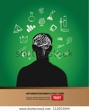 Think and brain on blackboard background ,Vector - stock vector