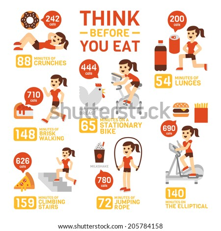 Think Before You Eat Infographics - stock vector