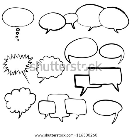 think bubble and talk bubble collection sketch drawing vector - stock vector