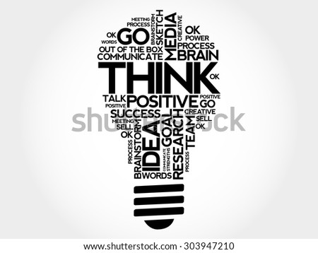 THINK bulb word cloud, business concept - stock vector