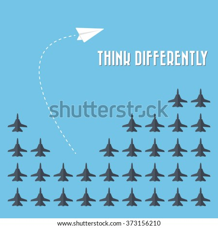 Think differently - Being different, taking risky, move for success in life -The graphic of paper airplane also represents the concept of courage, enterprise, confidence, belief, fearless, daring, - stock vector