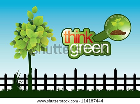 think green - stock vector