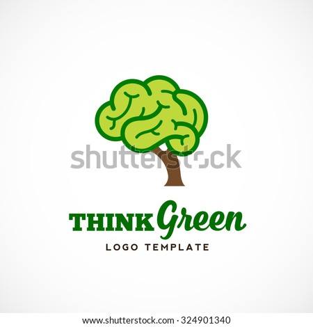 Think Green Abstract Vector Eco Logo Template. Brain Tree Illustration with Typography. Isolated. - stock vector