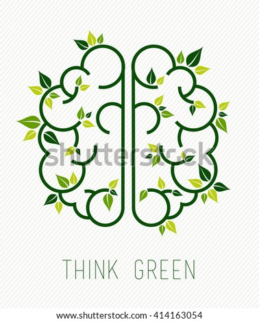 Think green concept design, simple human brain in line art style with nature elements and plant leaves. EPS10 vector. - stock vector