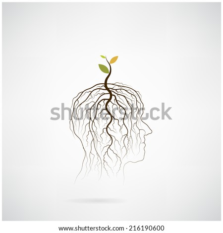 Think green concept. Tree of green idea shoot grow on human head symbol. business and green industrial idea. Vector illustration - stock vector