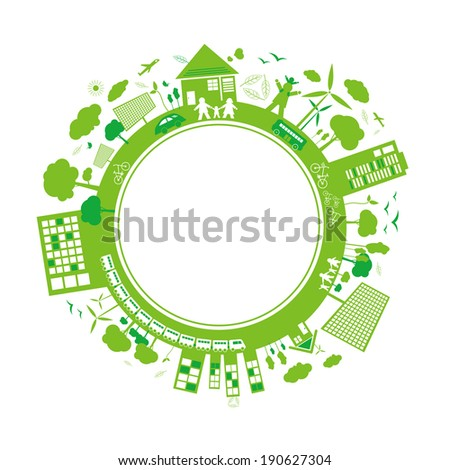 Think green concepts design on white background  - stock vector