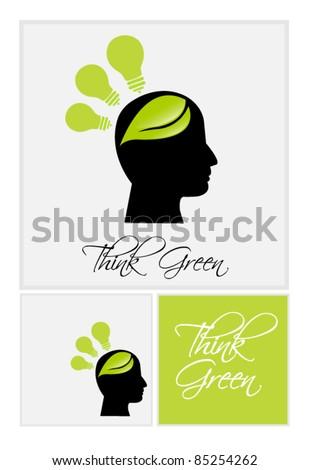 Think Green conceptual art - stock vector