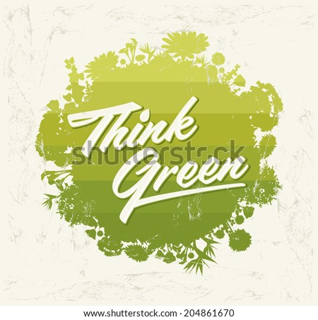 Think Green - Creative Eco Vector Design Element. Organic Bio sphere With vegetation. - stock vector